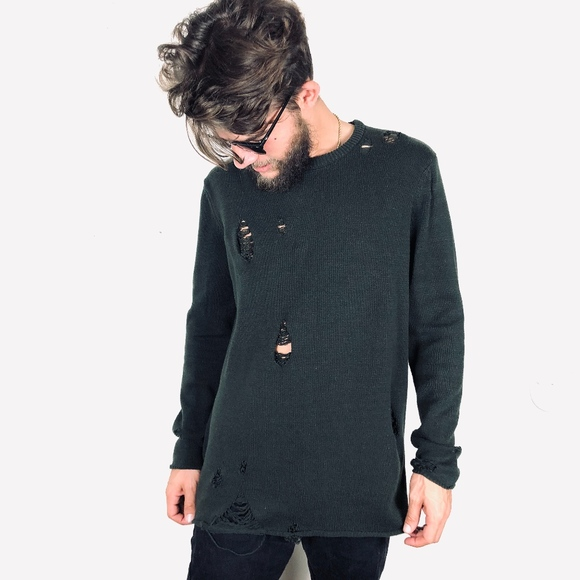 Forever 21 Other - Oversized Long Ripped Distressed Olive Sweater